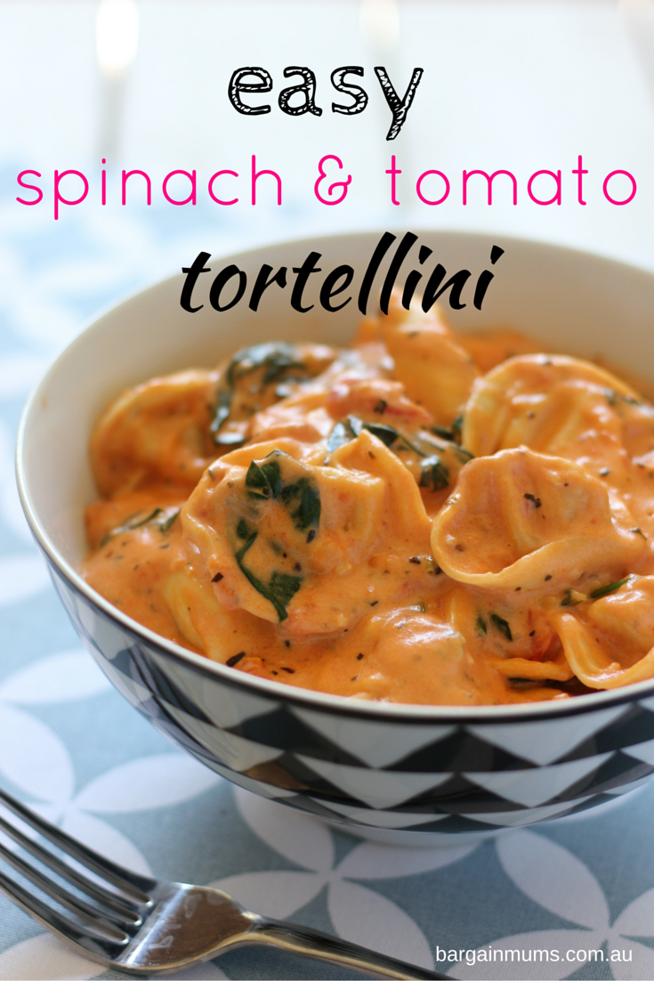 Next time you need to whip up something quick and easy for dinner, try this Easy Spinach and Tomato Tortellini http://bargainmums.com.au/easy-spinach-and-tomato-tortellini
