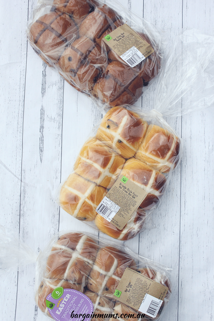 Woolworths mocha, traditional and brioche hot cross buns