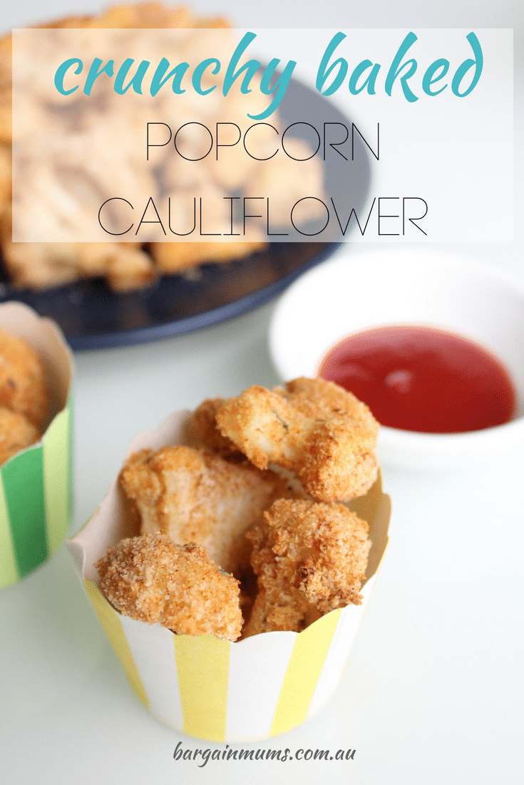 Ever noticed that you can coat almost anything in breadcrumbs and it just tastes better? This Crunchy Baked Popcorn Cauliflower is no exception. It's the perfect healthy snack that kids love.
