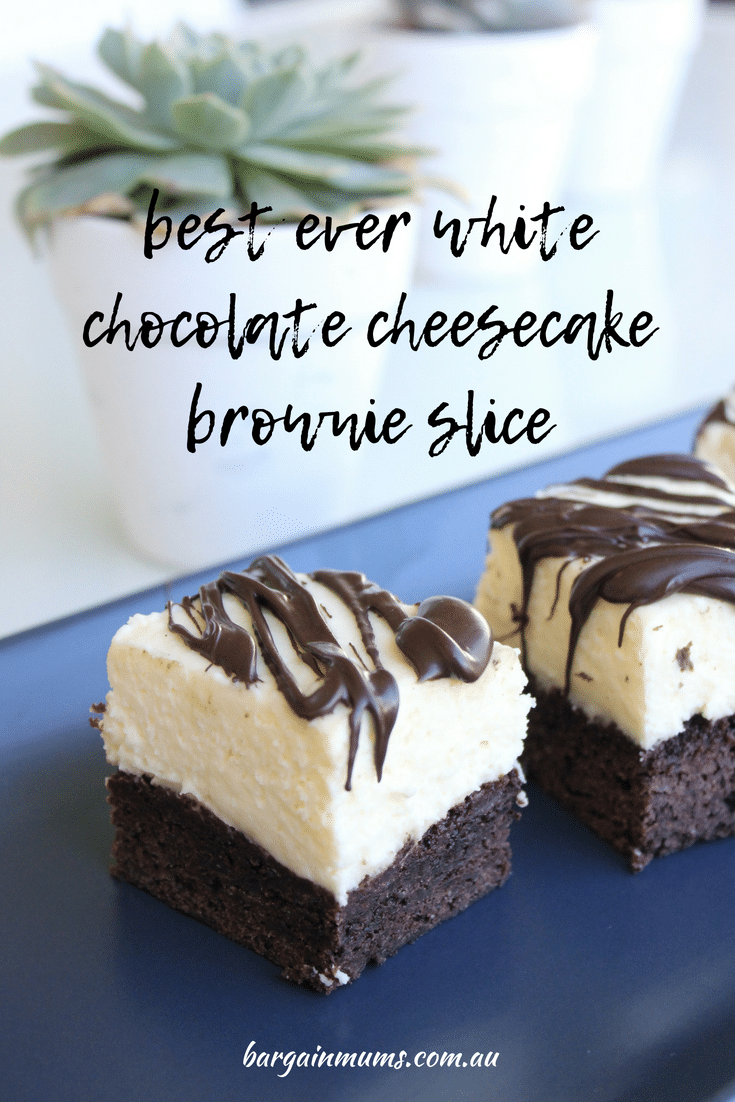 What's better than chocolate brownies?  White chocolate cheesecake brownie slice!  The richness of chocolate brownies teamed with the creaminess of white chocolate cheesecake is the perfect match.