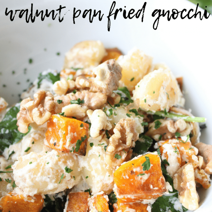 Who says you need meat to make an amazing meal?  I like to have a few meat-free dinners each week, and this ricotta, pumpkin and walnut pan fried gnocchi fits the bill perfectly.  There is something about these potato-ey pillows that makes a delicious and filling meal.