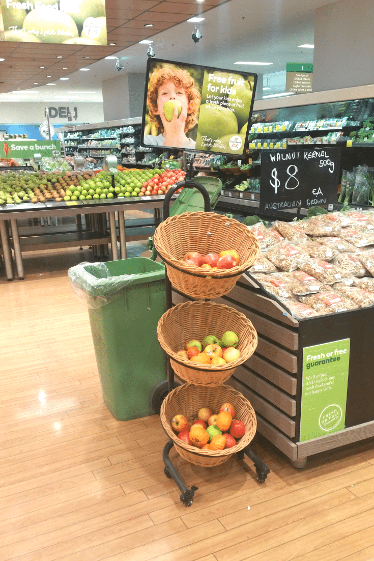 A great way to save on grocery shopping is to take advantage of Woolworths Free Fruit for Kids. If the kids are busy eating, they wont keep asking for things as you walk around the store.