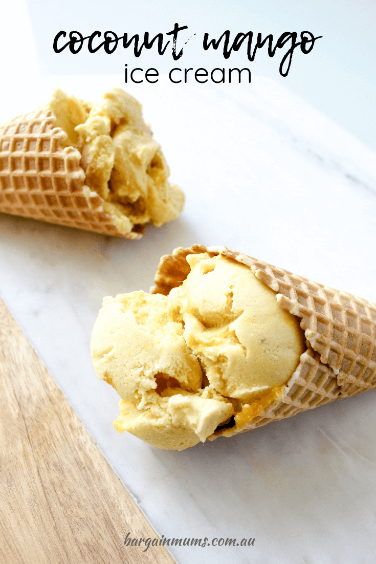 This Coconut Mango Ice cream (or nice cream as it's sometimes called) is the perfect dairy free, no added sugar summer dessert.