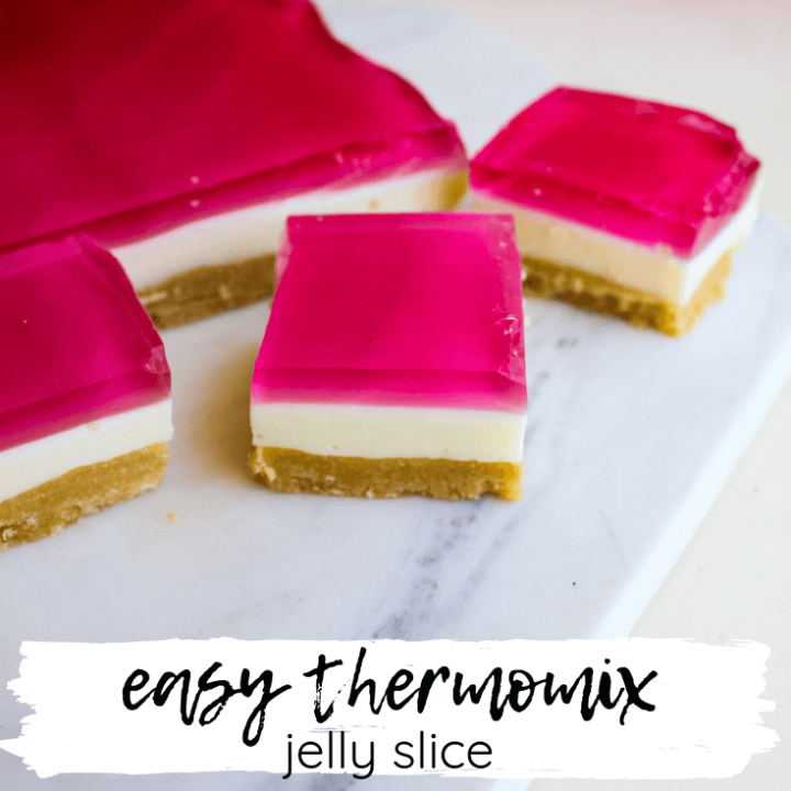 I'm yet to meet anyone that doesn't love Jelly Slice, especially this easy Thermomix jelly slice.  It's a dessert that's been loved for generations, and I'm not sure that will ever change.
