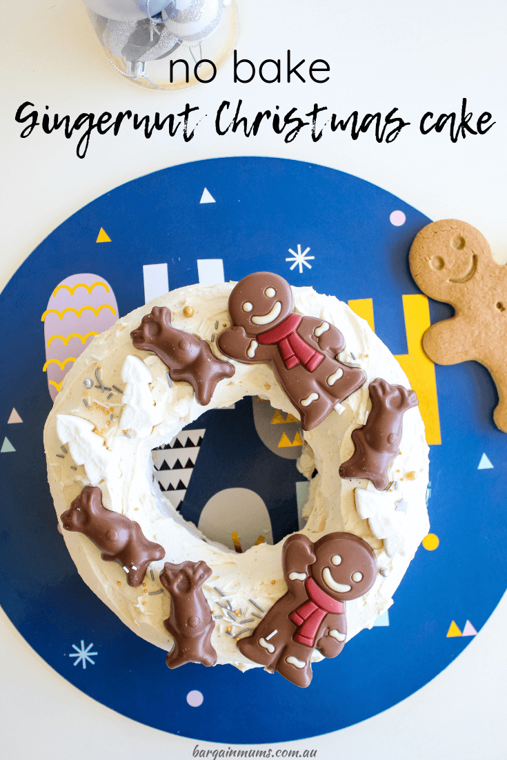 This no bake Gingernut Christmas cake is the perfect quick and easy Christmas cake, simply made with whipped cream and Gingernut biscuits.