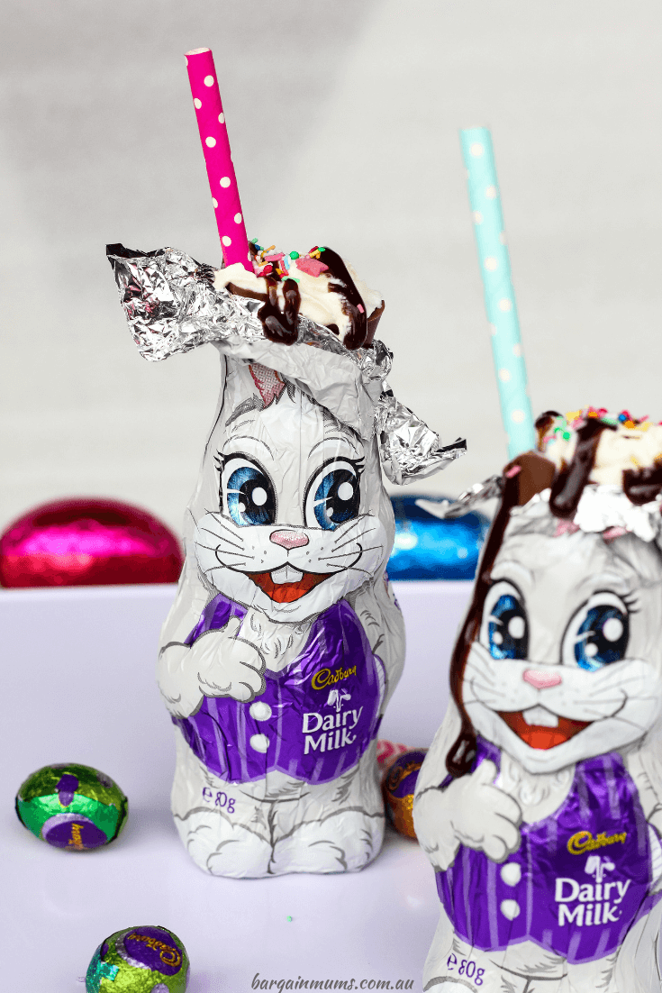 These Easter Bunny Chocolate Milkshakes are taking the country by storm.  It's super easy to make your very own Easter bunny milkshakes at home, and the kids are sure to love them!