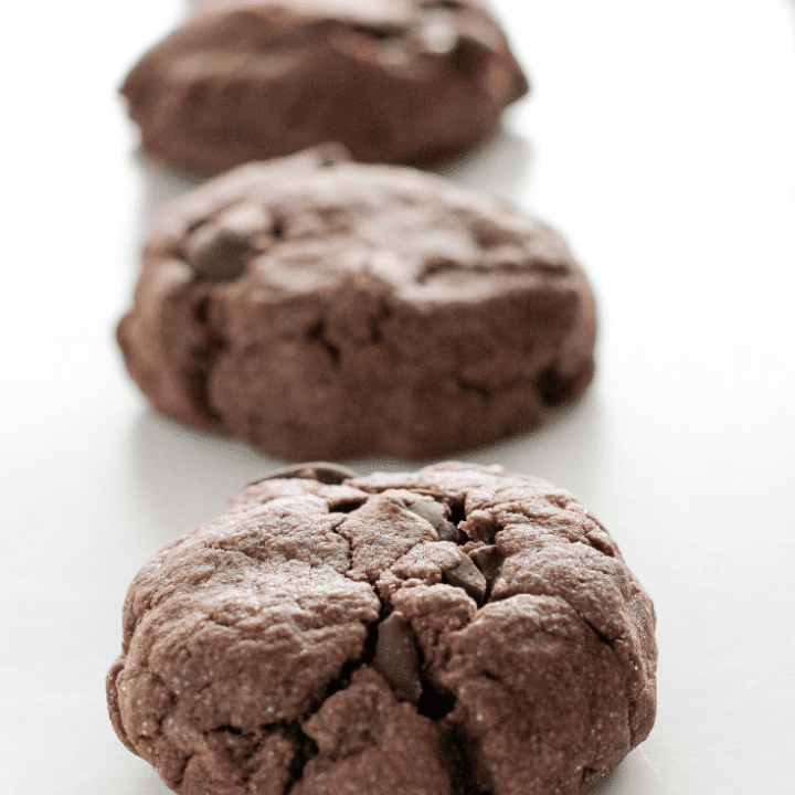 These double chocolate chip cookies are a must try for serious chocolate lovers. The chocolatey cookie dough it made even better with the addition of chocolate chips.