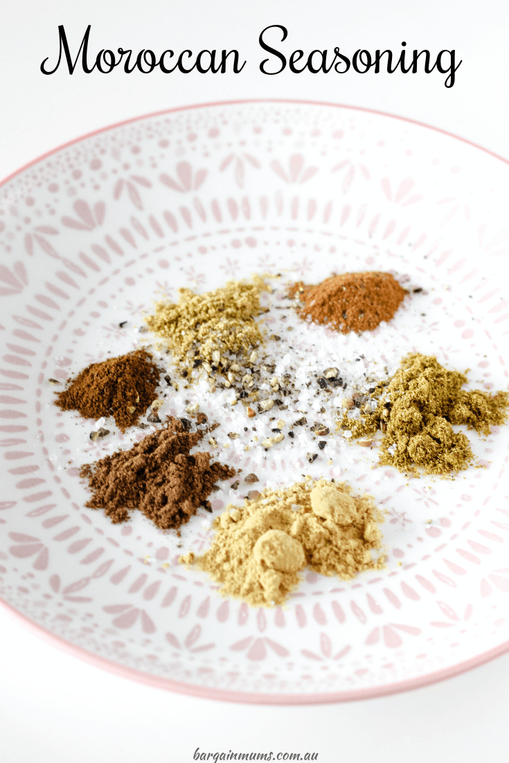 This Moroccan Seasoning is a great homemade alternative to expensive store bought versions.  It only takes a minute to put together, and chances are you already have all of the ingredients in your kitchen.