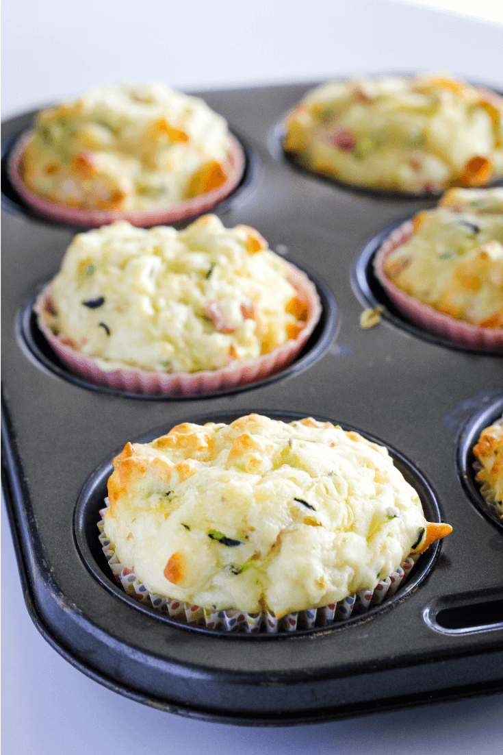 These savoury muffins are perfect for lunch boxes.  They are freezer friendly, and it's one of those recipes you can easily substitute the vegetables for anything you have on hand.  The combinations are endless.