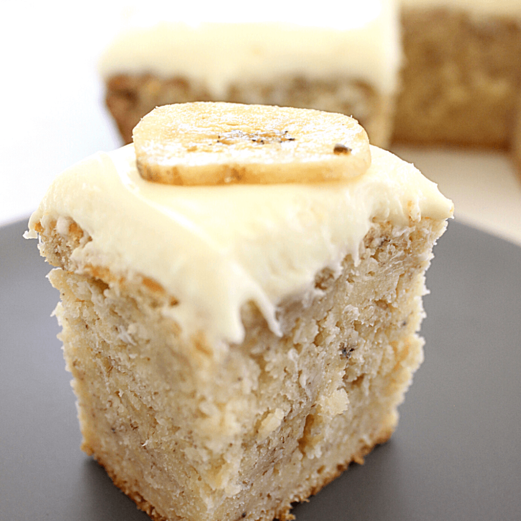 This is the best banana cake you will ever taste.  As if the cake itself isn't amazing enough, the cream cheese icing it's topped with make it even better.