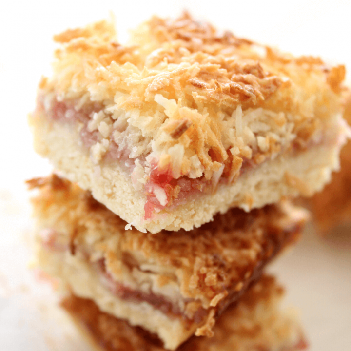 This raspberry coconut jam slice might be a classic recipe, but it tastes as good as ever. It starts with a sweet shortcrust pastry base, and is then topped with raspberry jam and finished with a layer of chewy coconut.