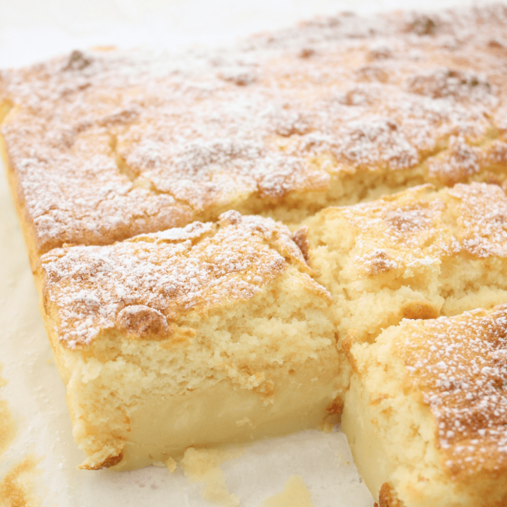 This lemon magic custard cake magically separates into 3 layers when baked.  It start with a fudgy bottom layer, followed by a smooth custard centre and a light as air cake layer on top.