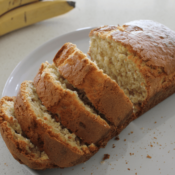This 3 ingredient banana bread is perfect when you want banana bread, but are short on time or ingredients, or both. It's also a great way to use up those over-ripe bananas.