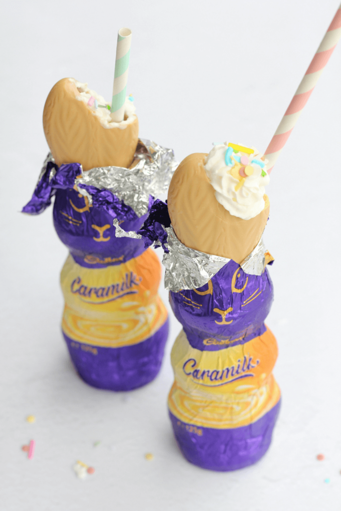 These Caramilk Easter bunny milkshakes are the ultimate fun Easter treat. Who can resist an Easter bunny filled with a delicious icy cold milkshake?