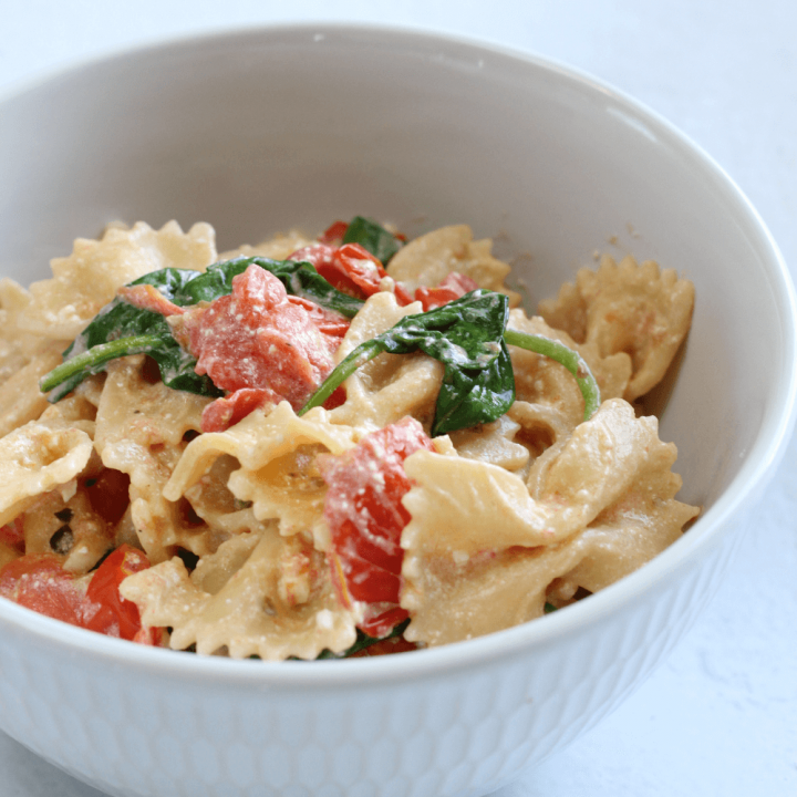 This creamy baked feta and tomato Tiktok pasta is the perfect quick and easy weeknight dinner.