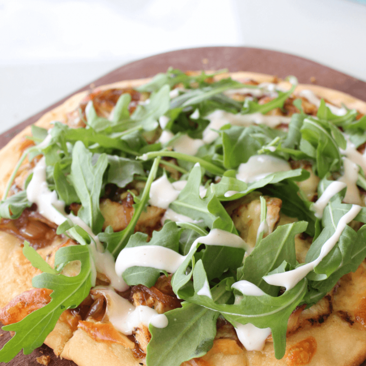Chicken caramelised onion and rocket pizza